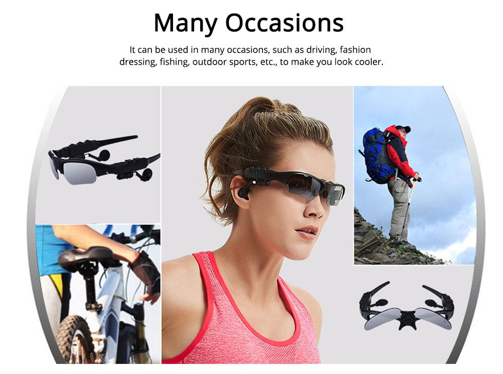 Bluetooth 4.1 Glasses Sport Headset, Multifunction Free Calls Music Play Bluetooth Smart Headset Glasses, ABS Material Anti-ultraviolet Ocular Anti-vertigo Polarizing Lens Adjustable Eyeglass 5