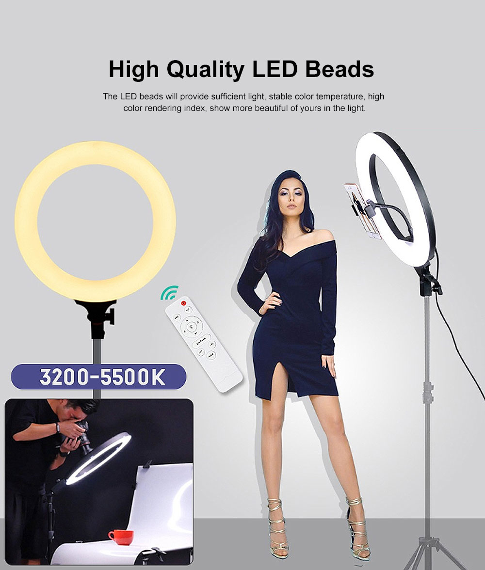 Selfie Desktop Ring Light, Dimmable Ring Light for YouTube Live Streaming, Portrait Photography LED Round Fill Light 12 inches 3