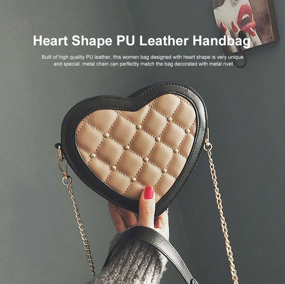 Women Heart Shape PU Leather Handbag with Metal rivet Chain Delicate Shoulder Bag for Youth Lady Girl 0