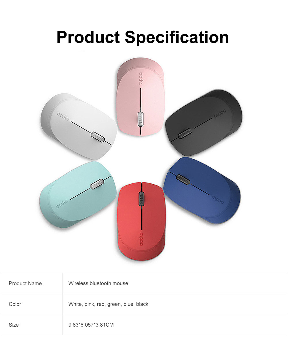 2.4G Wireless Bluetooth Mouse Slim Wireless Mouse with 1300 DPI Compatible for PC, Laptop, Mac, Android, Windows 7
