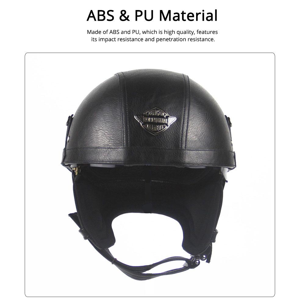 Half-head Helmet ABS PU Material Breathable Buffer Helm Moisture Absorption Headgear Safe for Harley Riding for Men Women Anti-ultraviolet Cap Anti-glare Headpiece Safe Hat 1