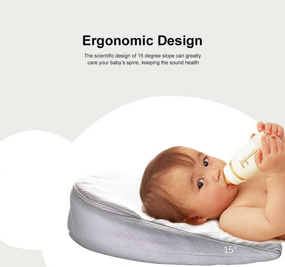 Baby Pillow with 15 Degree Slope Design Milk Spill Prevention Memory Foam Built-In Wedge Shape Newborn feeding Pillow Waterproof Cover 2