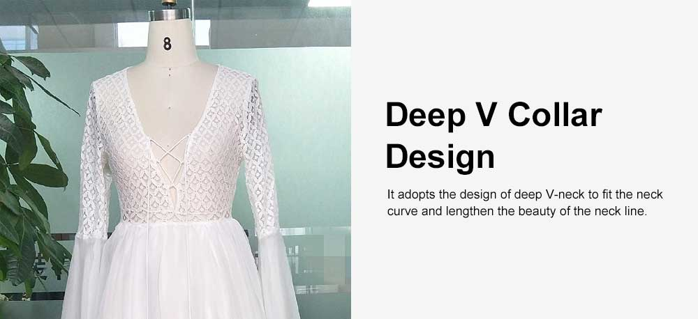 Lace Chiffon Skirt Women Dress, Deep V Neckline Horn Sleeve Dress, Bodice Hollowed-out Lace Dresses 4