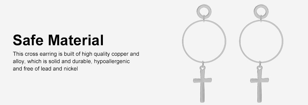 Copper Cross Pendant Earring, Gold Plated Retro Circle Vintage Layered Jewelry for Women 5