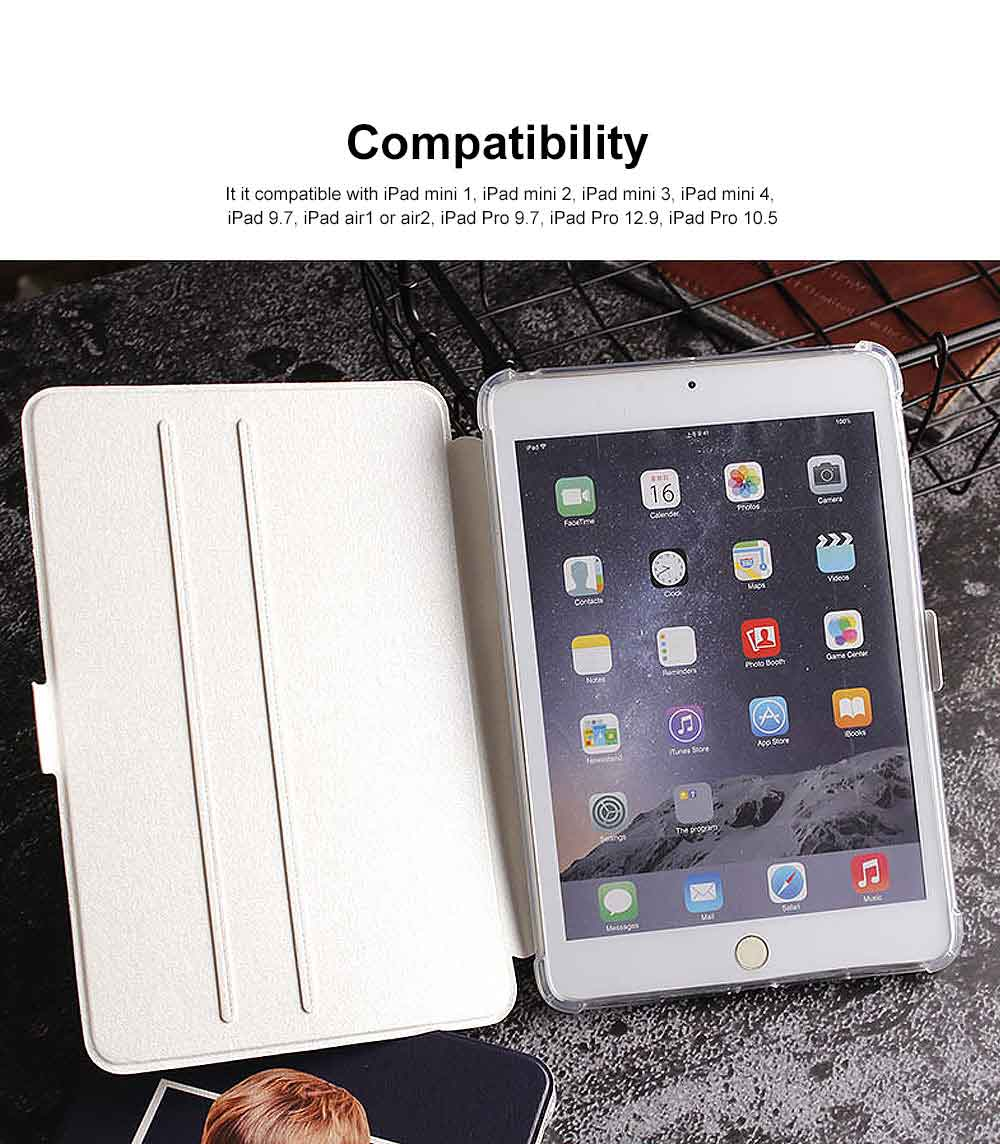 Slim Bumper Smart Case with Stand Function Shell, Colorful Clear Back Cover Lightweight with Auto Sleep Wake Function for ipad 9.7 2017 2018 mini 4 1