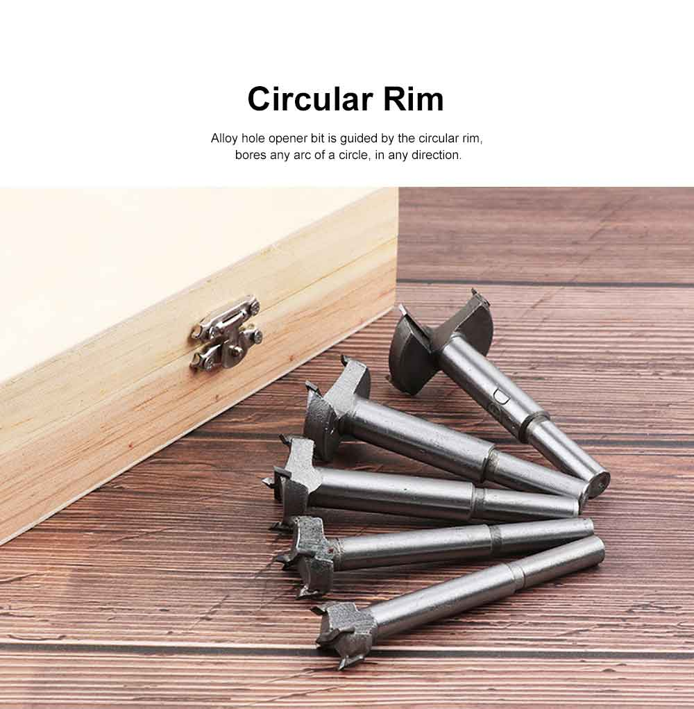 Alloy Woodworking Hole Opener Set, 5 Pieces High Accuracy Woodworking Hole Saw Set with Wood Case 1