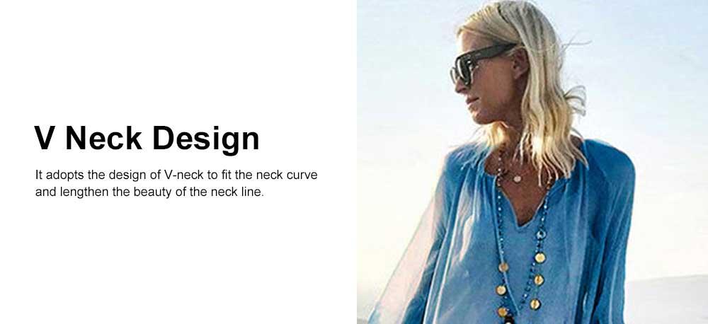 V-neck Ruffled Long-sleeve Resort Boho Dress for Vocation, Bohemian Long Dress, Lantern Sleeve Lotus Leaf Dress Hem Combination Design for Summer Autumn Dress 2019 4