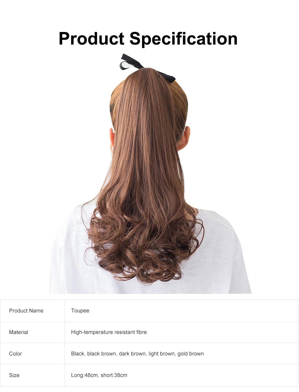 Bandage Type Korean Style Toupee Rinka, Ponytail Curved Hair for Lady, Elegant High Temperature Resistant Stylish Wig 6
