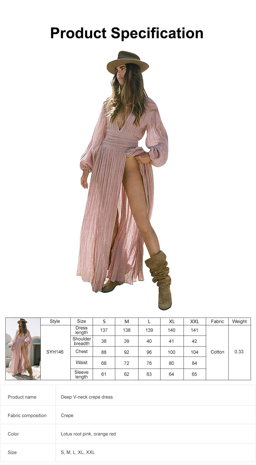 High Slit V Neck with Lantern Sleeves Dress for Vocation, Leisure Pleated Deep V-neck Long Dress 6