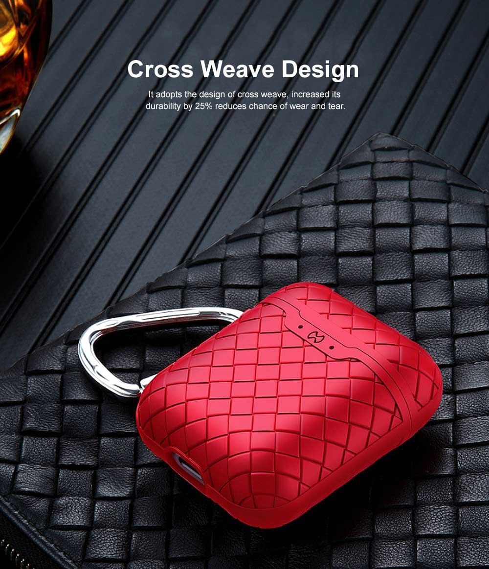 Ultra-thin Protective Case for AirPods AirPods 2, Anti-loss Bluetooth Headset Woven Case Storage Bag TPU for Men & Women 7