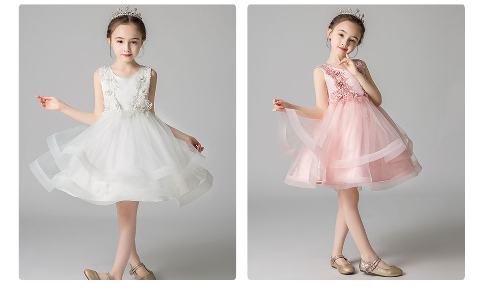 Child Evening Dress Skirt Polyester Cotton Material Round Collar Petticoat Double-layer Mesh under-dress for 3 to 8 Years Girls Spring Summer Formal Dress 6