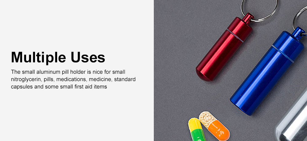 Pill Box Keychain Waterproof Single Chamber Aluminum Alloy Pill Organizer for Outdoor Travel Camping 5