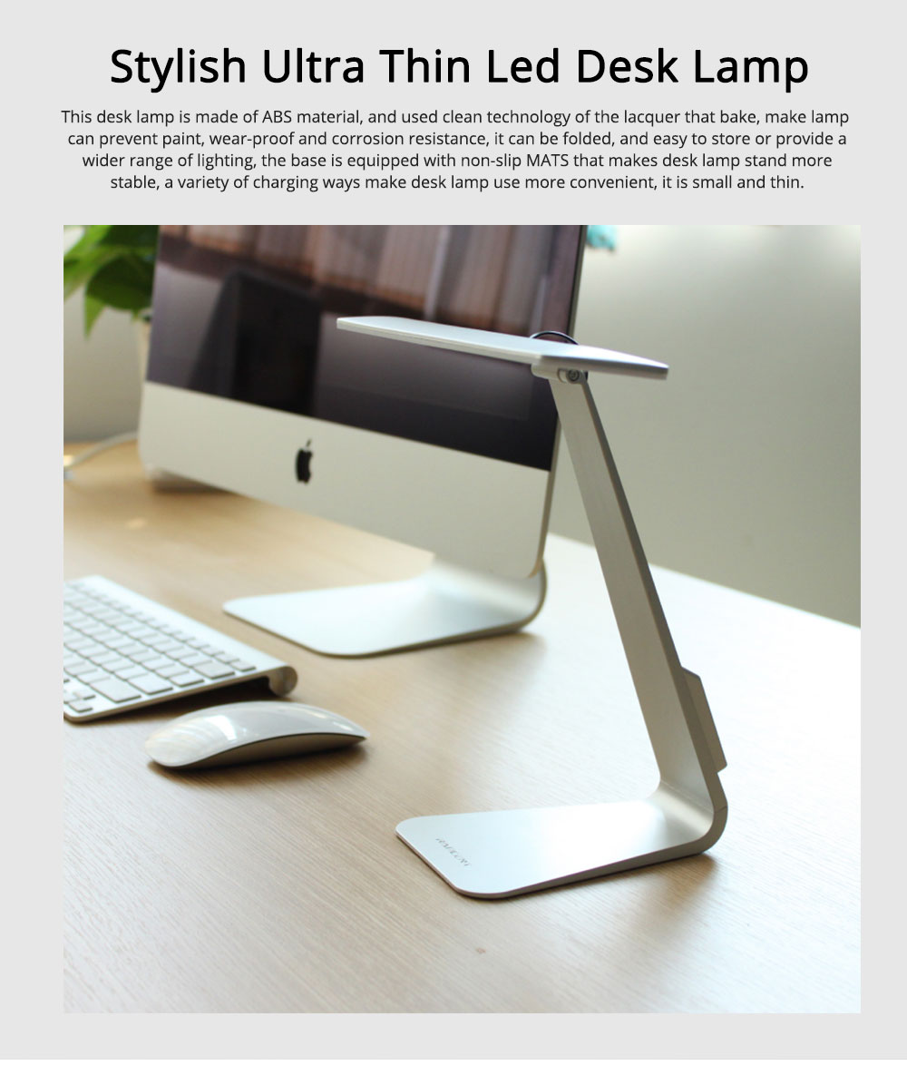 Folding Stylish Desk LED Lamp Ultra Slim ABS Rubber Material Folding Lamp Long Stand by Anti-paint Light USB Rechargeable LED Light for Student Dormitory 0