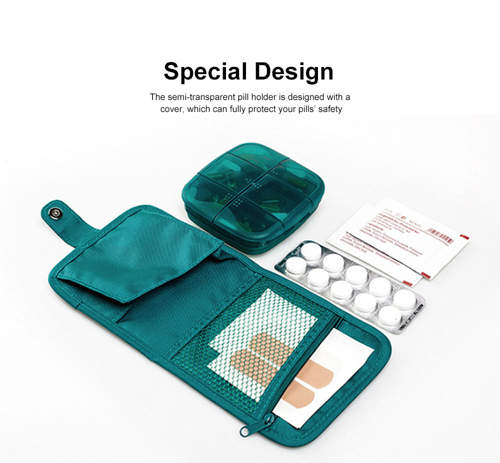 Sealed Mini Pill Holder for Elderly, Patient, Weekly Travel Friendly Pill Box Portable with Waterproof Protective Bag 1