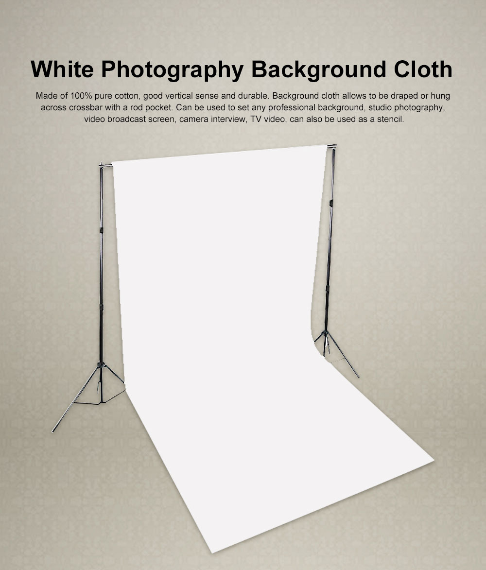 White Photography Background Cloth 100% Cotton for Studio or Outdoors 3*3.6m 0