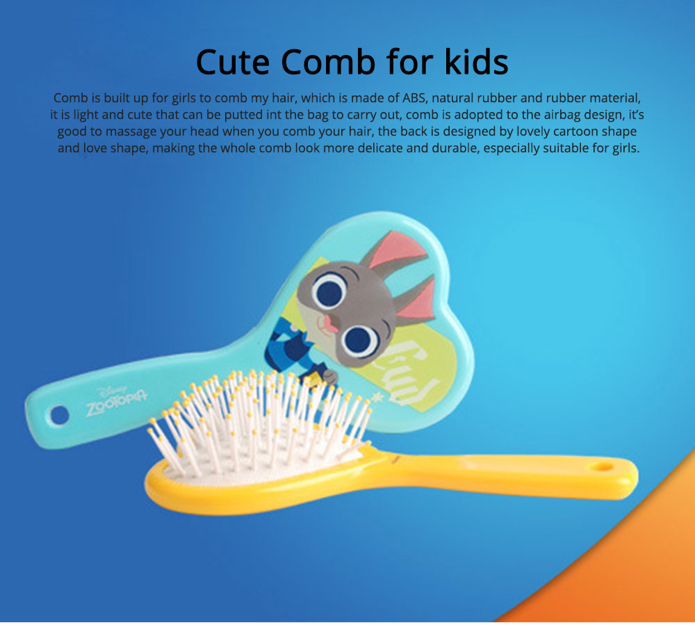 Portable Hair Comb ABS Rubber Material with Cartoon Pattern Curling Hair Comb, Heart Shape Girl Head Massage Tool, Lovable Air Cushion Comb 0