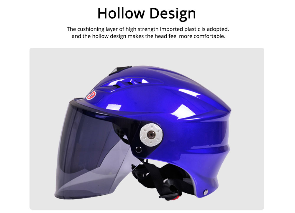 Motorcycle Helmet for Men Women Riding, ABS Material Hollow Buffer Headgear with Anti-fall Adjustable Velcro Headgear, Anti-pressure Breathable Headpiece 5
