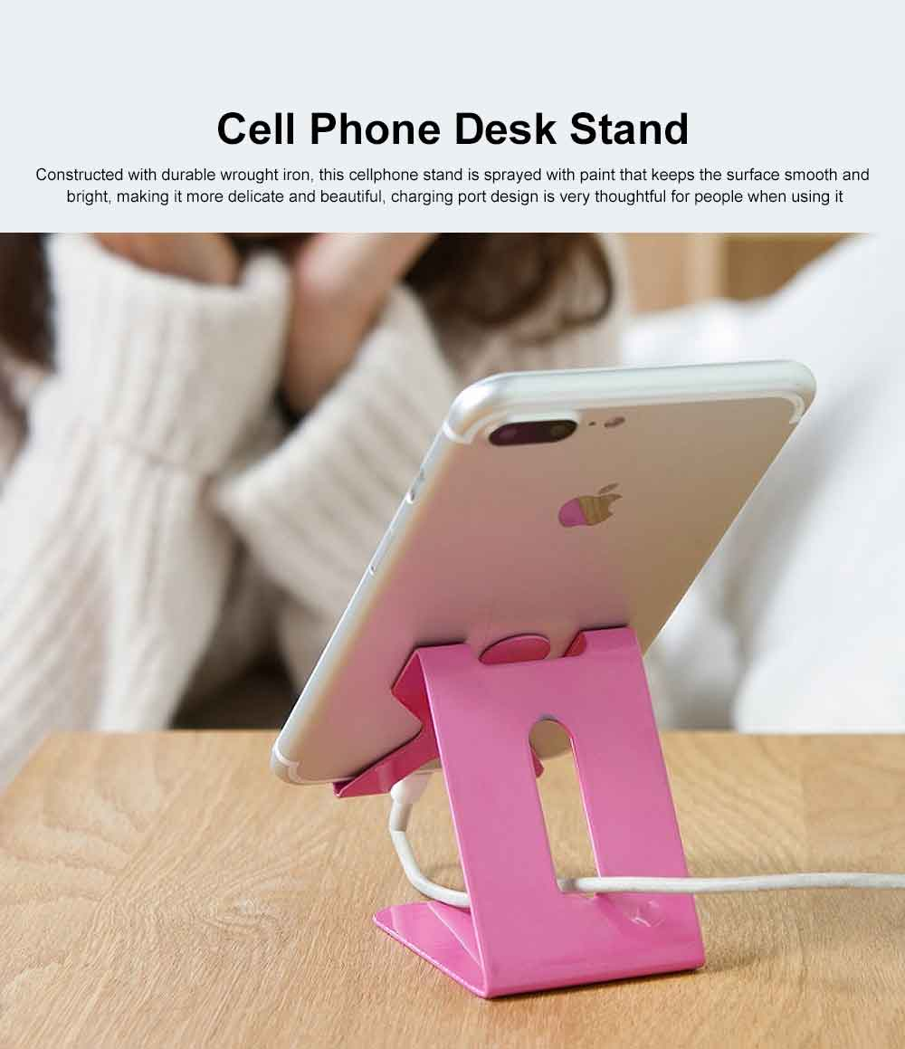 Cell Phone Desk Stand Holder, Wrought Iron Desktop Phone Holder, Portable Universal Desk Stand for All Mobile Smart Phone iPad Tablets 0