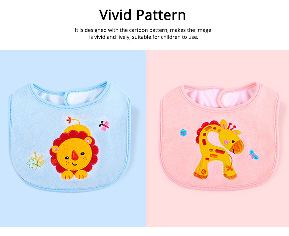 Saliva Cover Cotton TPU Material, Waterproof Spit Bib for Baby Avoid Dirt with Cute Pattern Design Breathable Baby Bib 2