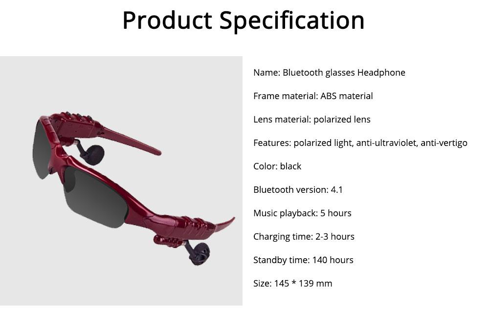 Bluetooth 4.1 Glasses Sport Headset, Multifunction Free Calls Music Play Bluetooth Smart Headset Glasses, ABS Material Anti-ultraviolet Ocular Anti-vertigo Polarizing Lens Adjustable Eyeglass 7