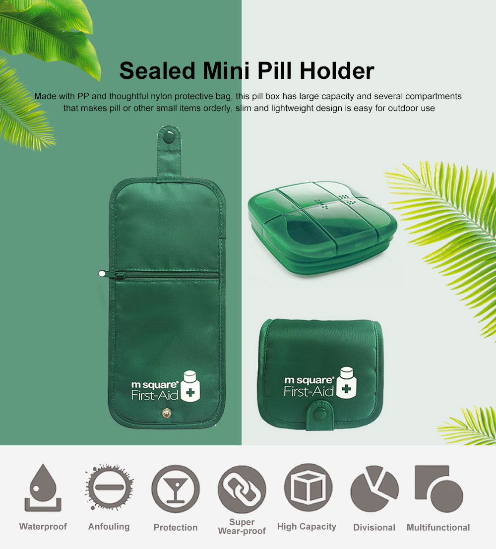 Sealed Mini Pill Holder for Elderly, Patient, Weekly Travel Friendly Pill Box Portable with Waterproof Protective Bag 0