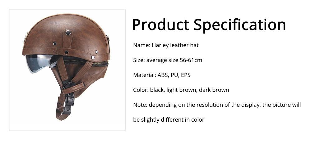 Half-head Helmet ABS PU Material Breathable Buffer Helm Moisture Absorption Headgear Safe for Harley Riding for Men Women Anti-ultraviolet Cap Anti-glare Headpiece Safe Hat 6