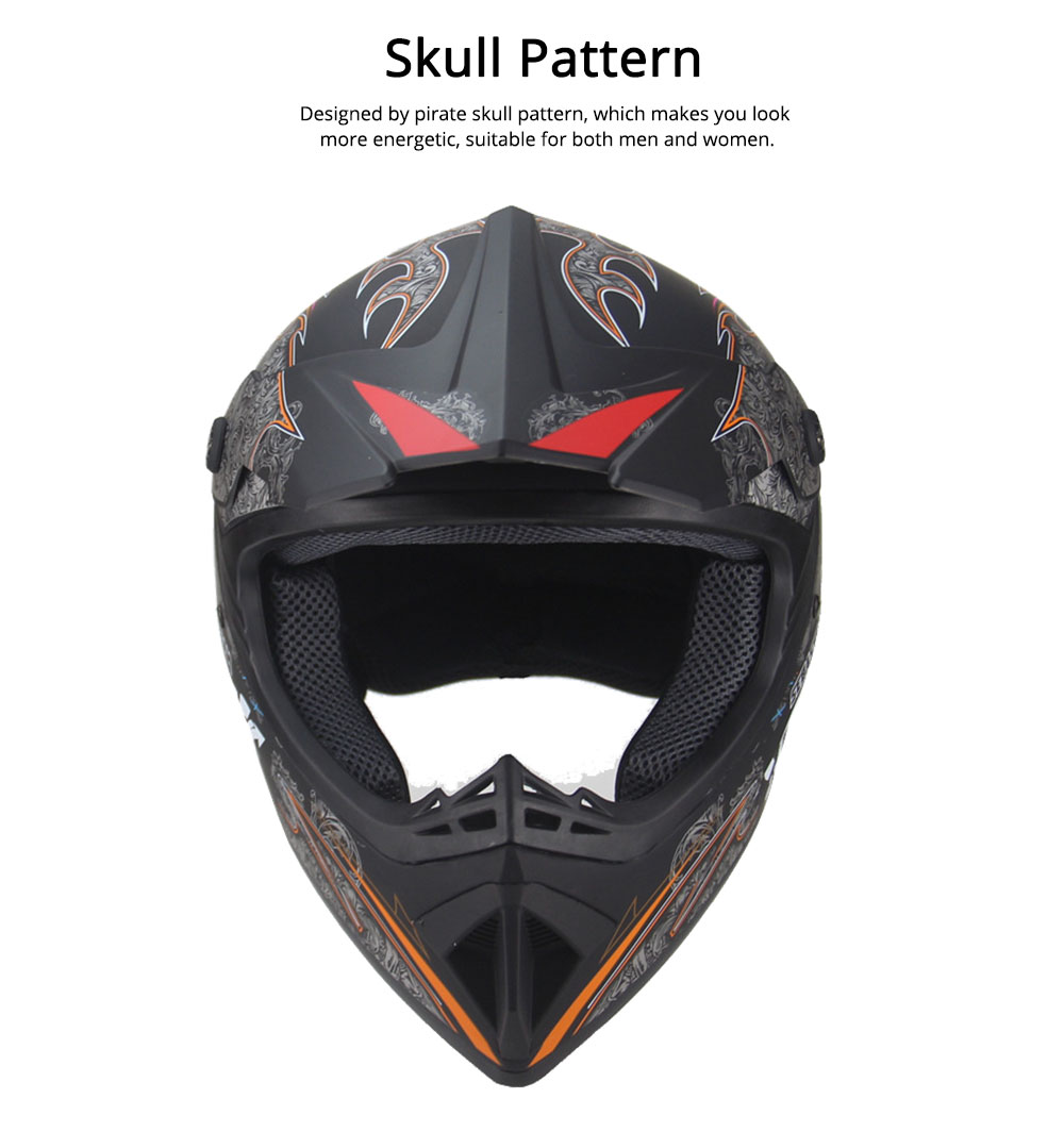 Motor Helmet Mountain Bike Safe Headgear ABS Material Anti-fall Pirate Skull Pattern Headgear for Men Women Riding Cap Anti-pressure Light Helmet 2