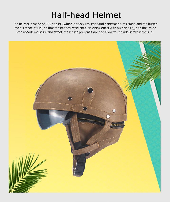 Half-head Helmet ABS PU Material Breathable Buffer Helm Moisture Absorption Headgear Safe for Harley Riding for Men Women Anti-ultraviolet Cap Anti-glare Headpiece Safe Hat 0