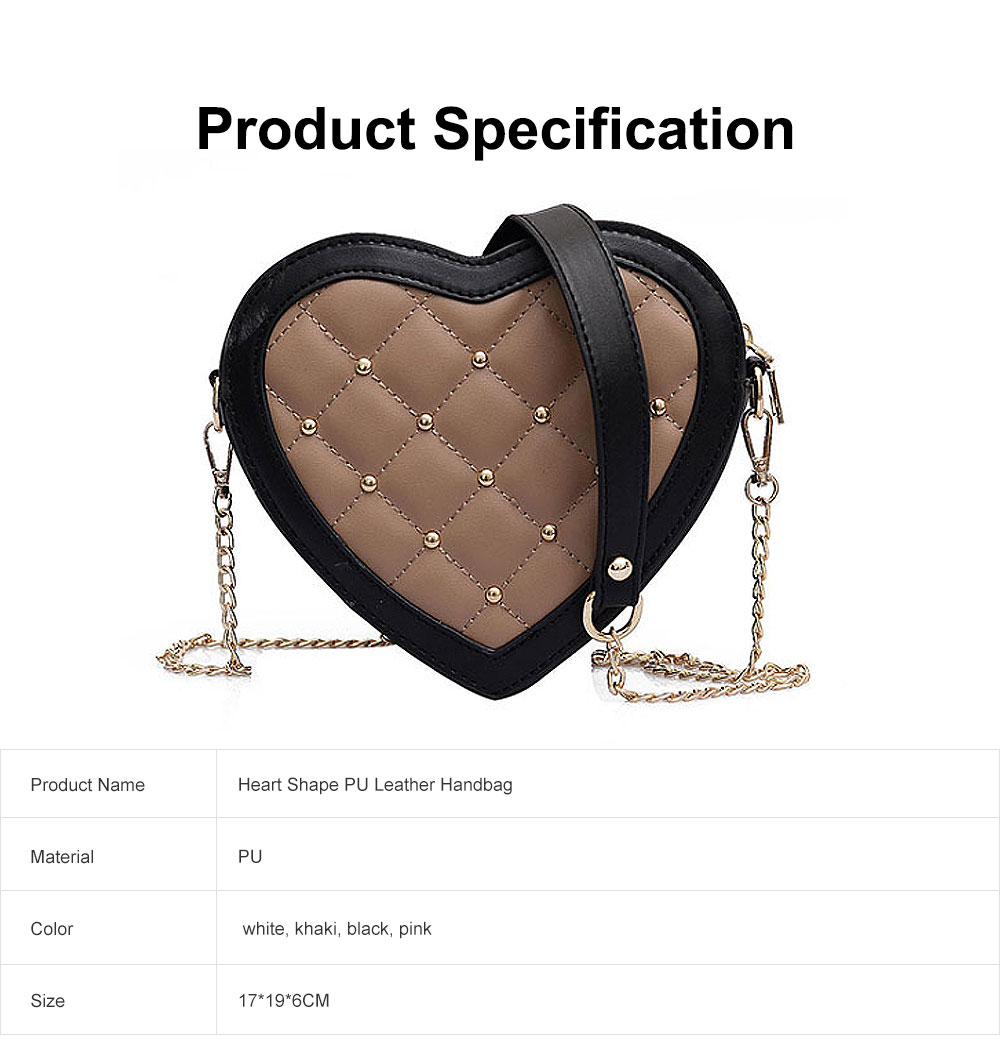 Women Heart Shape PU Leather Handbag with Metal rivet Chain Delicate Shoulder Bag for Youth Lady Girl 6