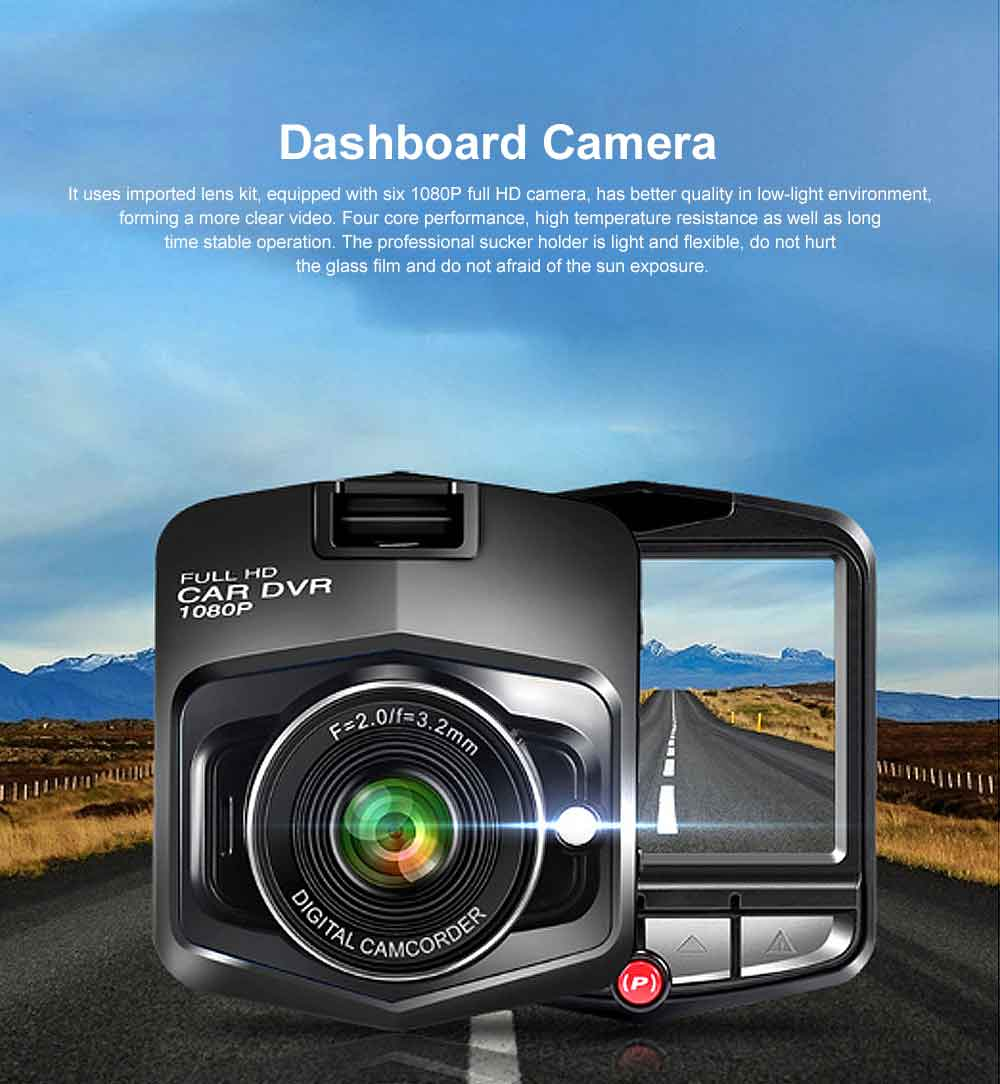 Automobile On-board Vehicle Data Recorder 2.4 Inch, 1080P Wide Angle Dashboard Camera, 32GB TF Card Support Vehicle Data Recorder 0