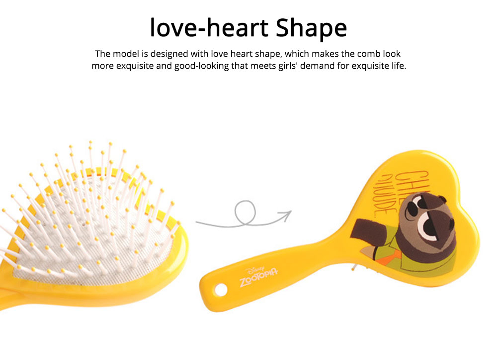 Portable Hair Comb ABS Rubber Material with Cartoon Pattern Curling Hair Comb, Heart Shape Girl Head Massage Tool, Lovable Air Cushion Comb 2