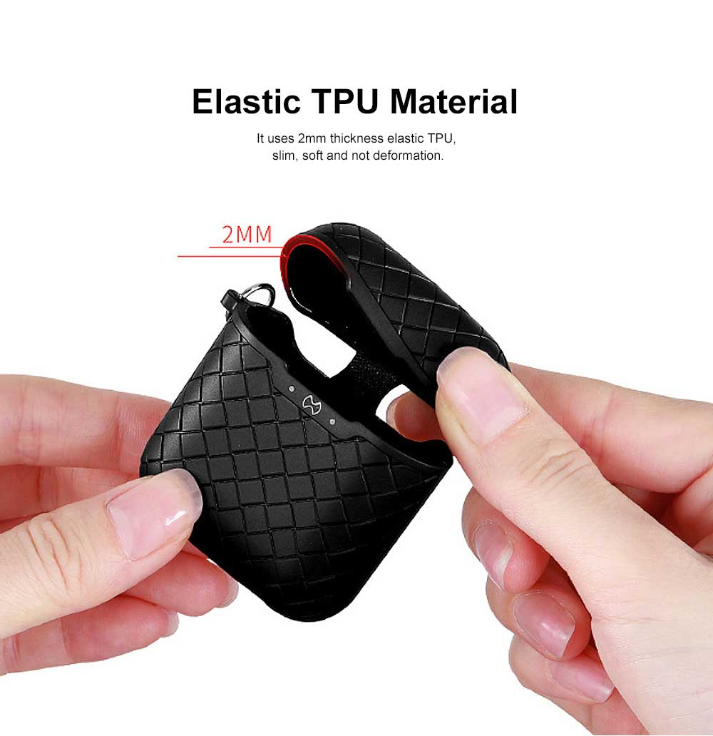 Ultra-thin Protective Case for AirPods AirPods 2, Anti-loss Bluetooth Headset Woven Case Storage Bag TPU for Men & Women 4