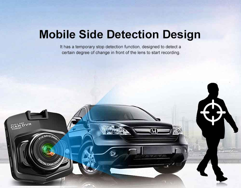 Automobile On-board Vehicle Data Recorder 2.4 Inch, 1080P Wide Angle Dashboard Camera, 32GB TF Card Support Vehicle Data Recorder 2