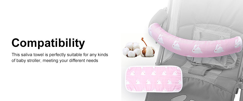 Baby Stroller Biting Saliva Towel with Cute Rabbit Design, Great Woven Baby Towel Baby Stroller Armrest Set Protective Cover Cotton Detachable 4