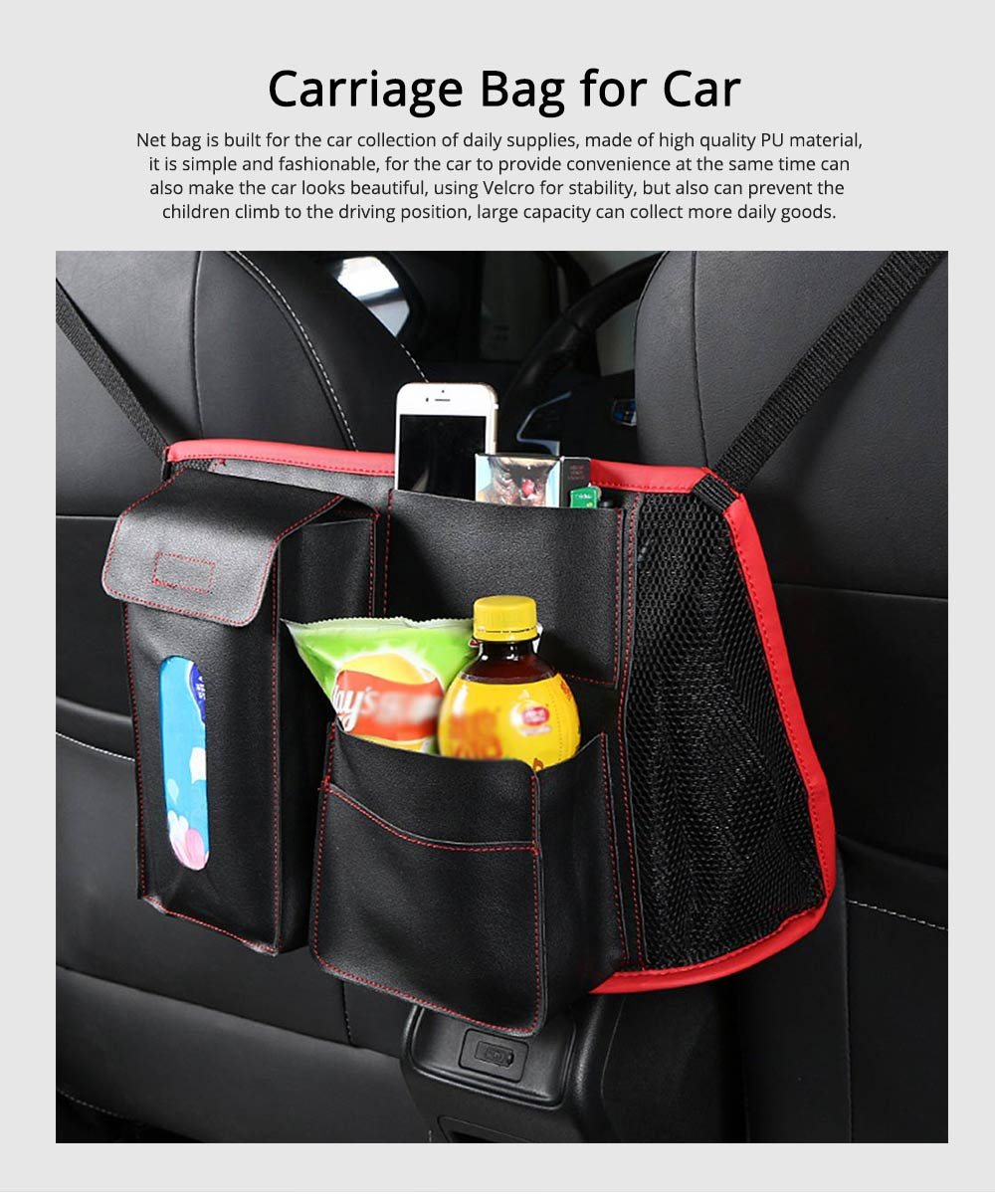 Carriage Bag for Mammy, Baby, PU Material Big Capacity with Pockets Velcro Stability Cross-border Storage Net Bag for Store Daily Items Car Collection Bag 0