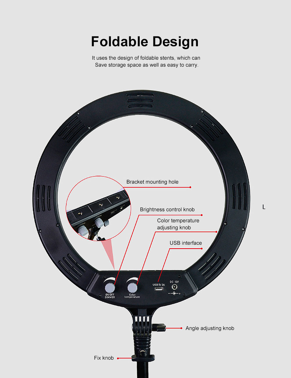 Selfie Desktop Ring Light, Dimmable Ring Light for YouTube Live Streaming, Portrait Photography, LED Round Fill Light 14 inches 4