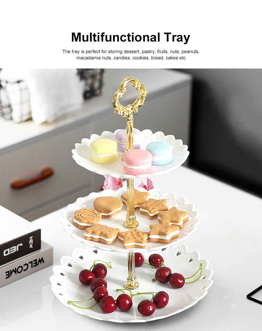 European-style Fruit Tray with 3 Layers Creative Petal Shape, Home Use Storage Tray for Dessert, Pastry Cake Nuts Fruits Tray 3 Layers 1