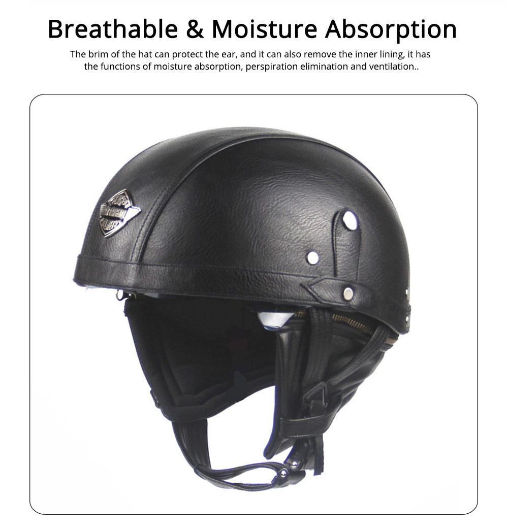 Half-head Helmet ABS PU Material Breathable Buffer Helm Moisture Absorption Headgear Safe for Harley Riding for Men Women Anti-ultraviolet Cap Anti-glare Headpiece Safe Hat 3
