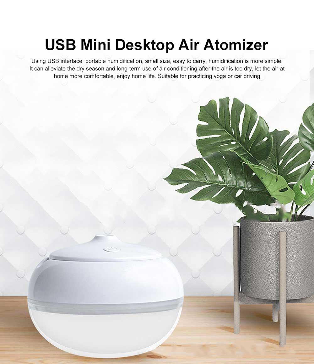 USB Mini Desktop Air Atomizer, Incense Humidifier, Night Light 7 Colors 258ml Mini Humidifiers Desktop 0