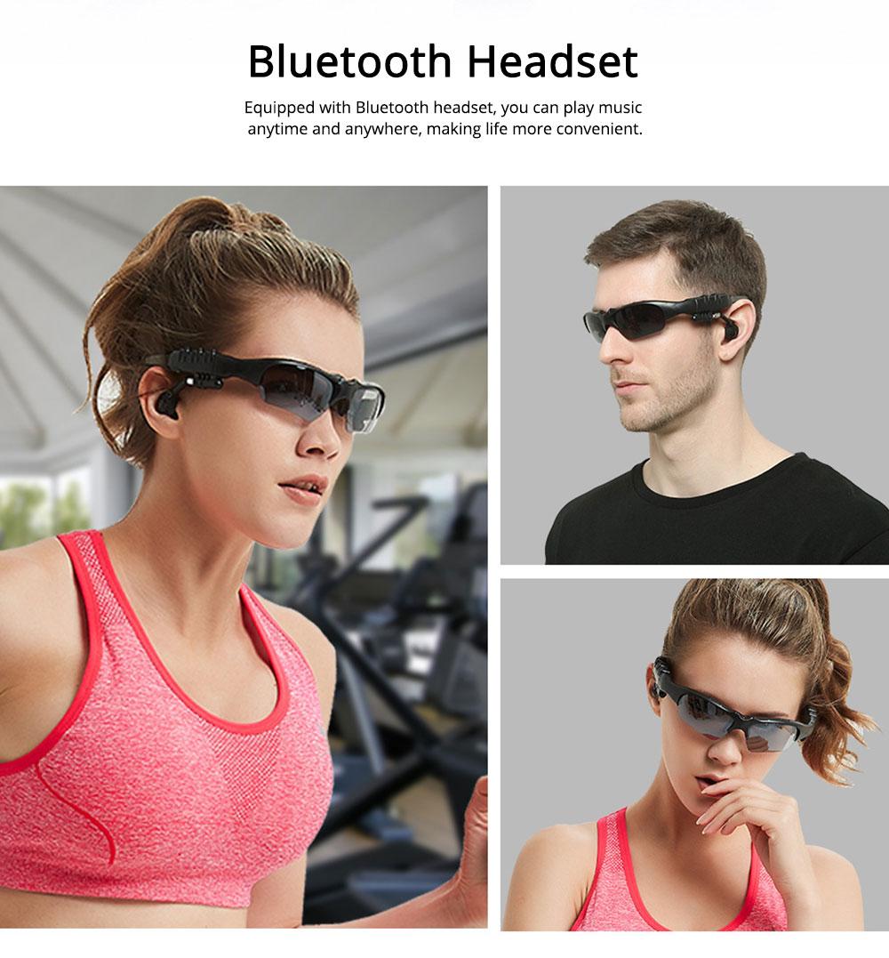 Bluetooth 4.1 Glasses Sport Headset, Multifunction Free Calls Music Play Bluetooth Smart Headset Glasses, ABS Material Anti-ultraviolet Ocular Anti-vertigo Polarizing Lens Adjustable Eyeglass 4