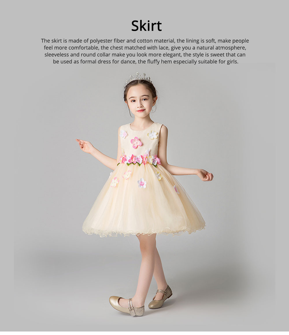 Girl Formal Dress, Polyester Cotton Material Sleeveless Fluffy Skirt with Round Collar, Under-dress, One-piece Dress for Three to Ten Years Girls in Summer Petticoat 0