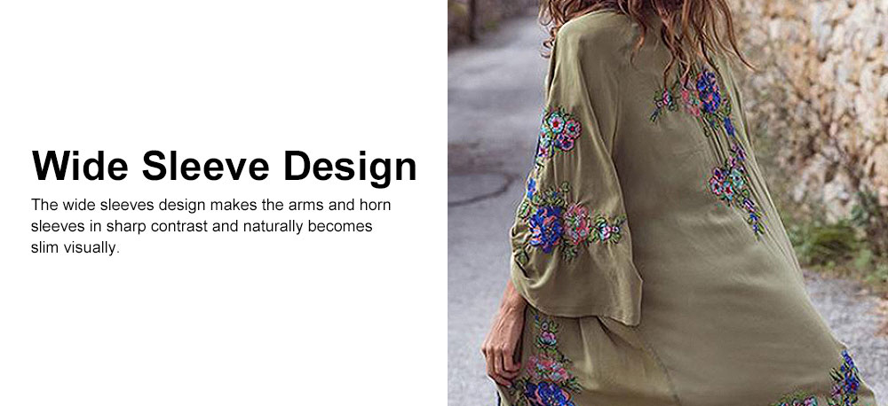 Women Bohemian Cardigan Coat, Flowers Embroidered Kimono Arm Green Embroider Coat 3