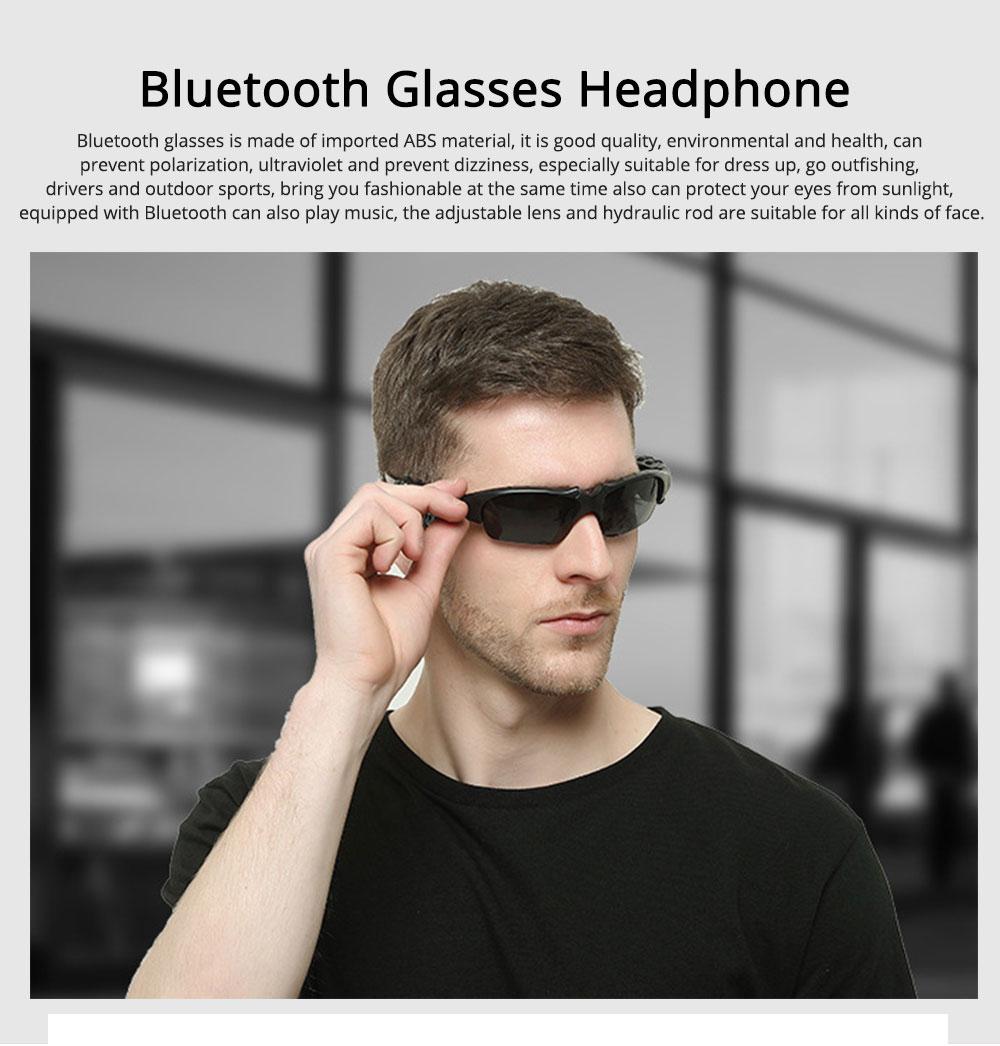 Bluetooth 4.1 Glasses Sport Headset, Multifunction Free Calls Music Play Bluetooth Smart Headset Glasses, ABS Material Anti-ultraviolet Ocular Anti-vertigo Polarizing Lens Adjustable Eyeglass 0