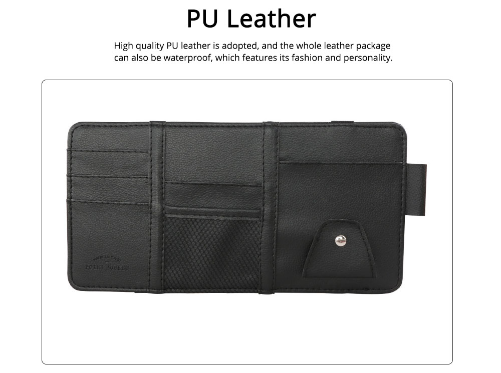 Card Bag PU Leather Material with Pockets Elastics Straps Collection for Store Cards Cash on Sun Shade of Car Storage Bag 1
