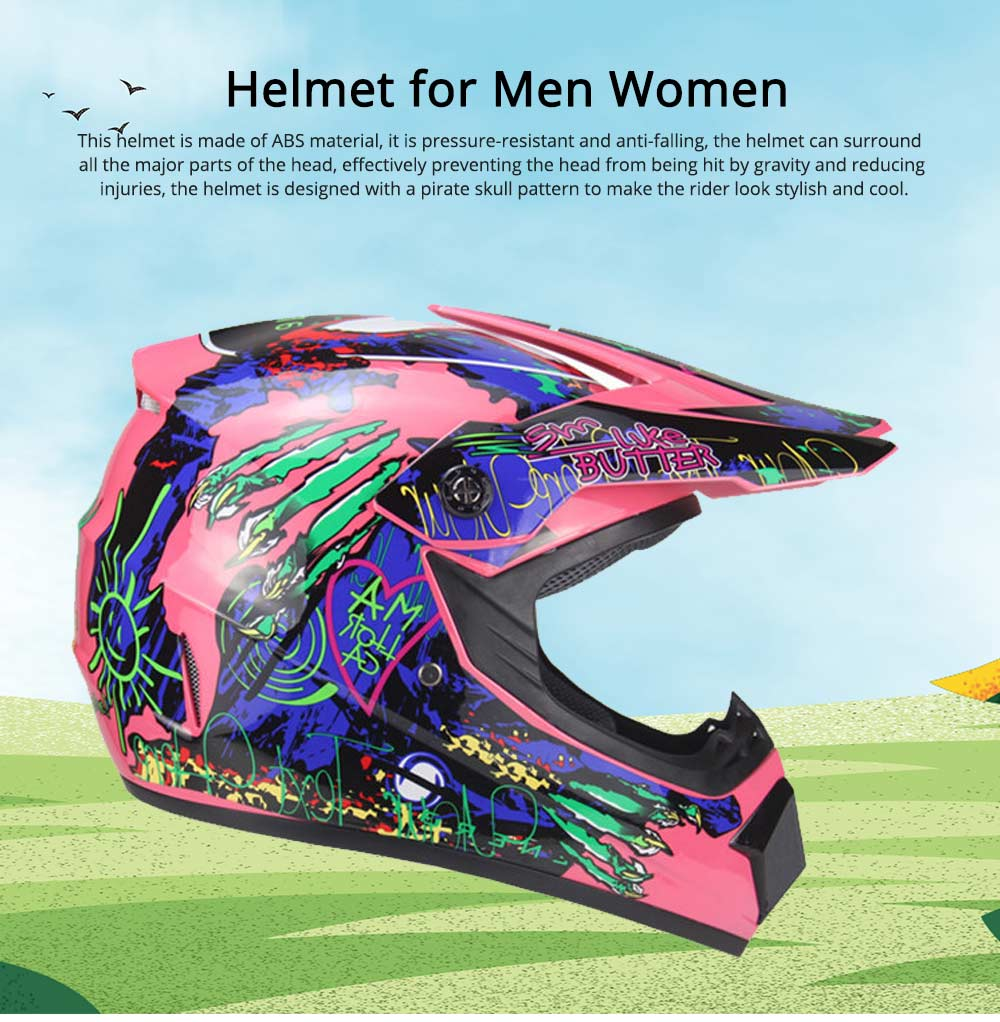 Motor Helmet Mountain Bike Safe Headgear ABS Material Anti-fall Pirate Skull Pattern Headgear for Men Women Riding Cap Anti-pressure Light Helmet 0