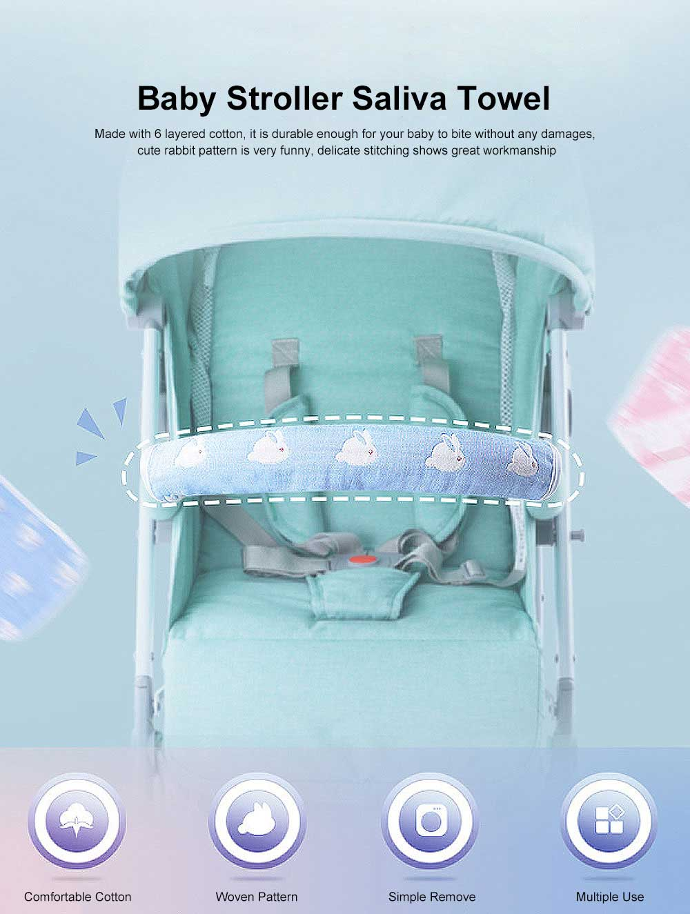 Baby Stroller Biting Saliva Towel with Cute Rabbit Design, Great Woven Baby Towel Baby Stroller Armrest Set Protective Cover Cotton Detachable 0