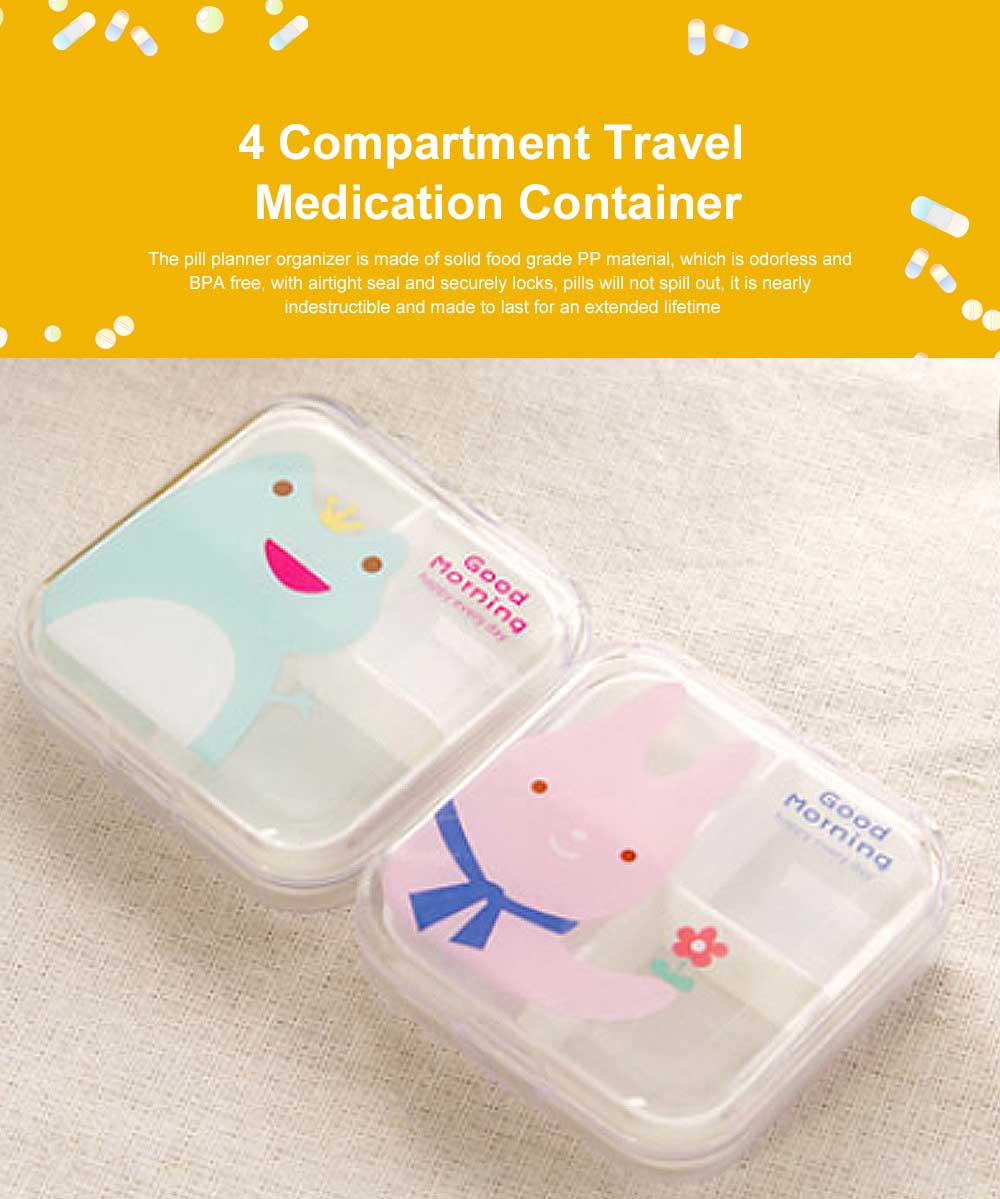 Transparent Pill Organizer Box with Cartoon Pattern, 6 Compartments Travel Medication Container, Daily Pillbox Dispenser 0