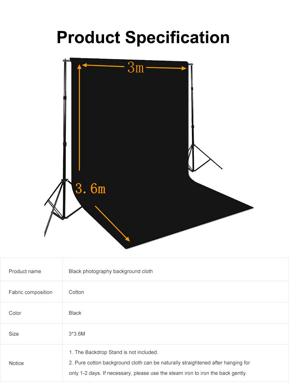 Black Photography Background Cloth 100% Cotton for Studio or Outdoors Photography 3*3.6m 6