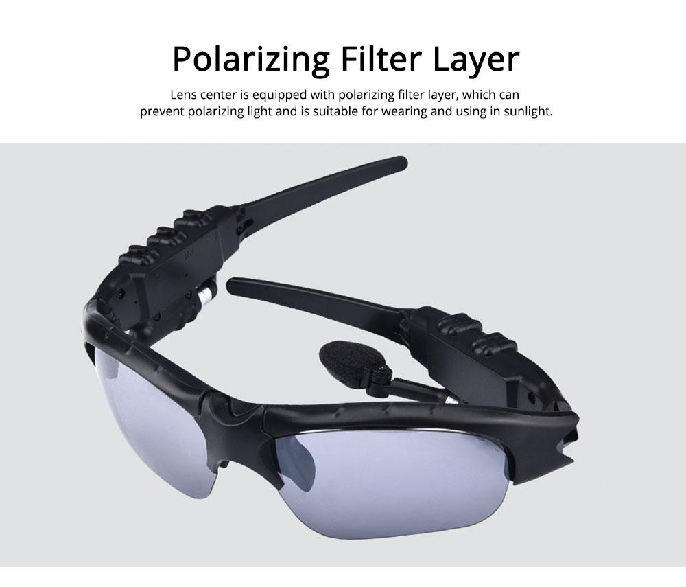 Bluetooth 4.1 Glasses Sport Headset, Multifunction Free Calls Music Play Bluetooth Smart Headset Glasses, ABS Material Anti-ultraviolet Ocular Anti-vertigo Polarizing Lens Adjustable Eyeglass 2
