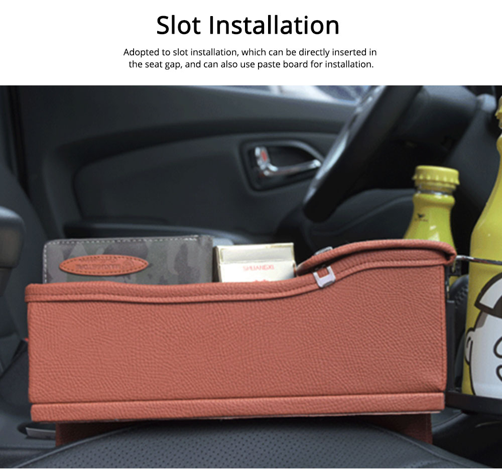 Storage Bag Leather Material Slot Installation Pack Box for Car Both Driver Copilot Store Bottle Phone Multiple Functions Container 5
